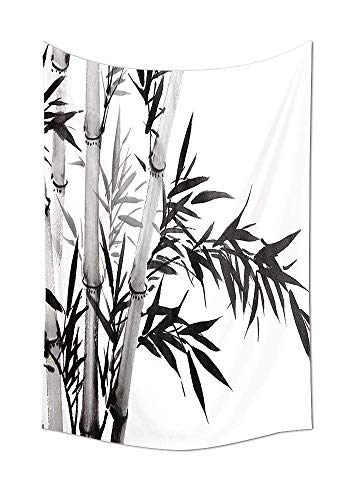 JAKE SAWYERS Bamboo Decor Collection Bamboo Tree Illustration Traditional Chinese Calligraphy Style Asian Culture Home Decor Bedroom Living Room Dorm Wall Tapestry Black White