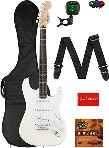 Fender Squier Bullet Stratocaster Hard Tail Guitar - Laurel Fingerboard, Arctic White Bundle with Gig Bag, Tuner, Strap, Picks, and Austin Bazaar Instructional DVD