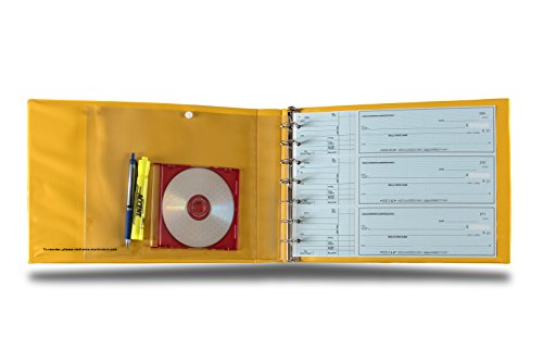 7-ring-3-on-a-page-check-book-binder-with-bright-yellow-cover-by-starbinders-yellow