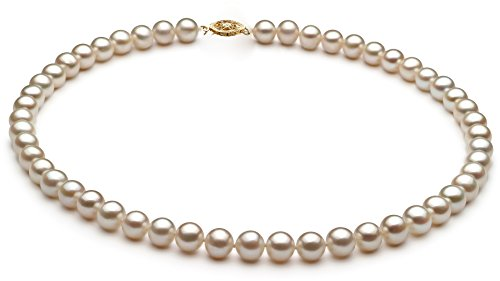 PearlsOnly - White 7.5-8.5mm Freshwater 10K Yellow Gold Cultured Pearl Necklace-18 in length