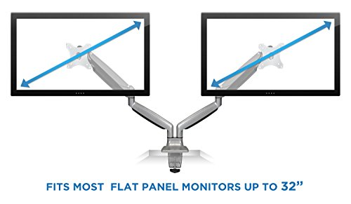 Mount-It! Dual Monitor Desk Mount Arm, Height Adjustable Full Motion Monitor Stand With Gas Spring Arms, Fits 24, 27, 29, 30, 32 Inch Computer Screens by Mount-It! (Image #6)