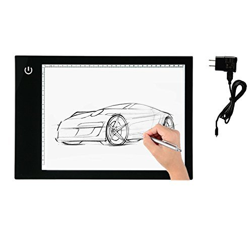 Light Box,Tracing Light Box A4 (15.7''x14.5'') LED Artcraft Light Box Battery Powered Light pad For Artists,Drawing, Sketching, Animation Light Table Light Board Ultra-thin Portable Light Board (Black)