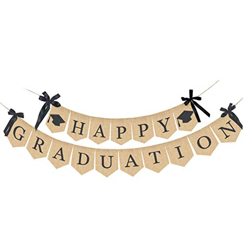 TOUGS Happy Graduation Banner, Rustic Vintage Burlap Graduation Party Supplies 2019, Graduation Decorations for Graduation Grad Home Party, Congratulations Sign