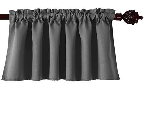 - Deconovo Dark Gray Valances for Window Kitchen Valance Textured Embossed Blackout Valance Curtain 52x18 Inch 1 PCS
