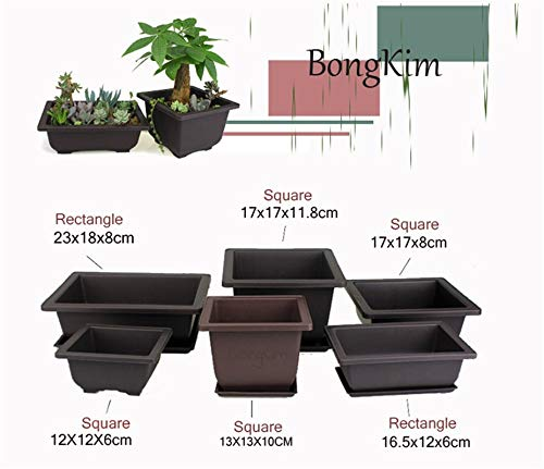 Bowl Planter - 1Set Flower Pot with Tray Balcony Square Flower Bonsai Bowl Nursery Basin Pots Planter Imitation Plastic Rectangle Flower Pots