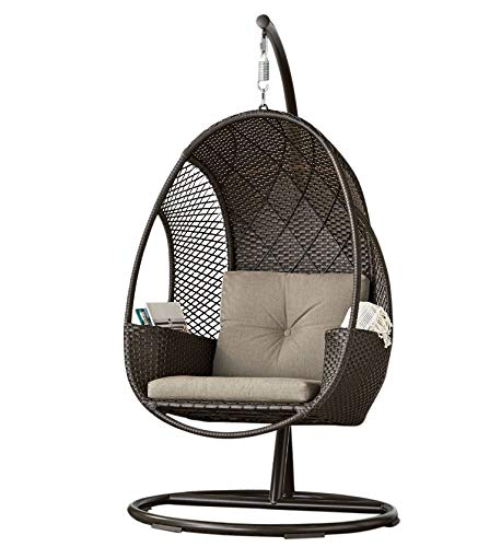 (SunVilla Outdoor Patio All-Weather Wicker Hanging Egg Chair on Steel Stand w/Storage)