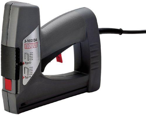 Novus Elektrotacker J - 102 dual power, Unterlademechanik mit Sicherheitsentriegelung, Auslösesicherung und Klammernsichtfenster, Für Feindrahtklammern und Flachdrahtklammern bis 14 mm, 031-0354