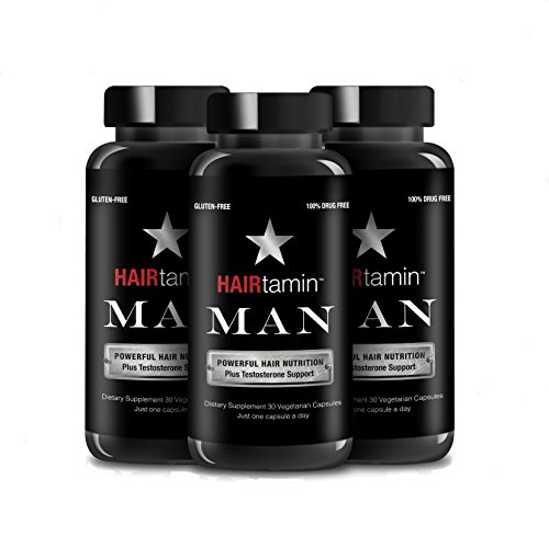 HAIRtamin MAN Formula - Fast Hair Growth Biotin Vitamins Gluten Free thirty Vegetarian Capsules Supports Stronger Longer Thicker Hair Reduces Hair Loss and Thinning All Natural Supplement 3 pack by HAIRtamin