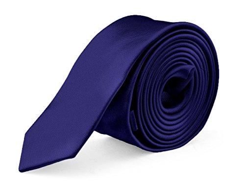 Ties Silk Blue Narrow (Ties For Mens Skinny Slim Silk Finish Fashion Long Necktie - Solid Color MDR - RoyalBlue)