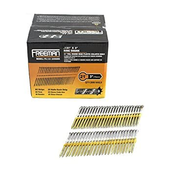 """Freeman FR.131-3HDGRS 20 Degree - 21 Degree Round Head Hot Dipped Galvanized Ring Shank Plastic Collated Framing Nails, 0.131"""" x 3"""""""