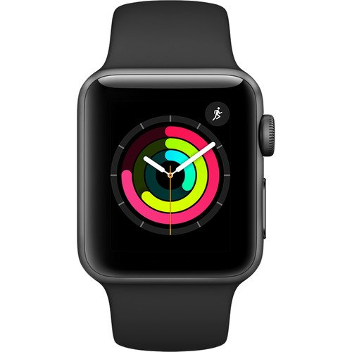 Apple Watch Series 3 38mm Smartwatch (GPS Only Space Gray Aluminum Case Black Sport Band) (Certified Refurbished)