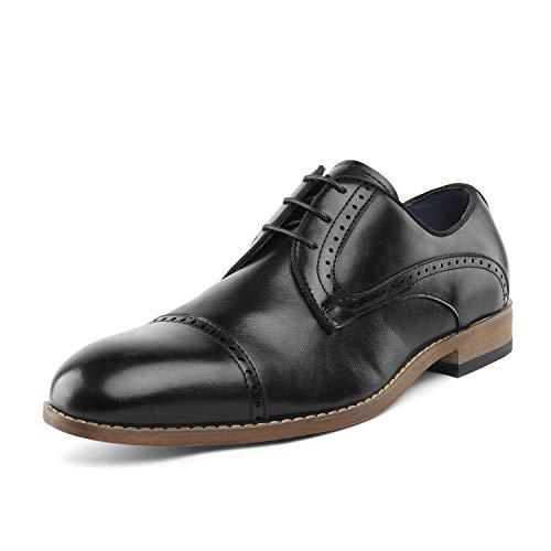 Bruno Marc Men's William_3 Black Classic Brogue Wing Tip Lace Up Soft Cap-Toe Oxfords Dress Shoes Size 7 M US