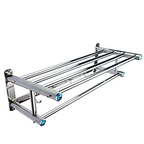 (23-Inch) FUNJIA Stainless Steel Bath Towel Rack/holder, Bathroom Shower Towel Bar, Shelves Space Saving Organizer, Modern Style and Special Blue Decoration, Polished Finish by FUNJIA (Image #6)