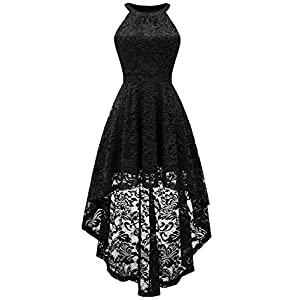 BeryLove Women's Halter Hi-Lo Floral Lace Cocktail Dress Sleeveless Bridesmaid Formal Swing Dress