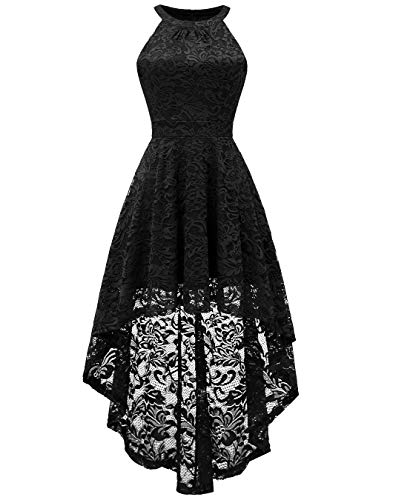 Masquerade Ball Dresses For Girls (BeryLove Women's Halter Hi-Lo Floral Lace Cocktail Dress Sleeveless Bridesmaid Formal Swing Dress)