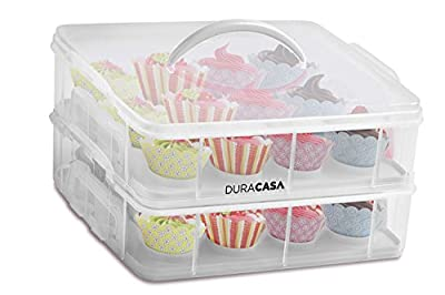DuraCasa Cupcake Carrier - Store up to 24 Cupcakes or 2 Large Cakes - Cupcake, Cookie, or Cake Dessert Carrier
