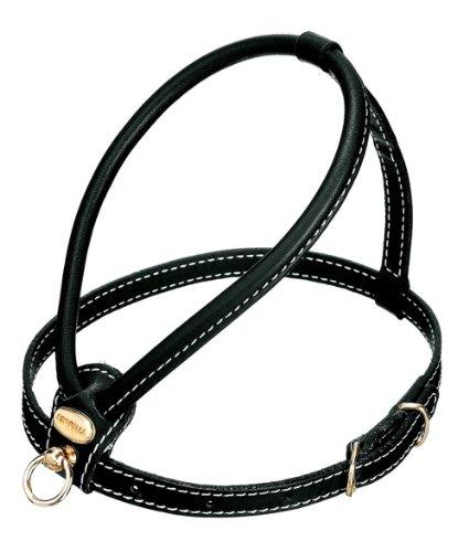 Petego La Cinopelca Tubular Calfskin Dog Harness with Pebble Grain Finish, Black, Small