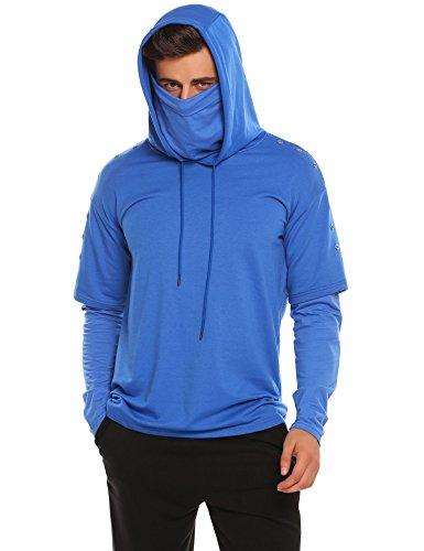 COOFANDY Men's Adult Mock Turtleneck Pullover Hooded Sweatshirt Long Sleeves ()