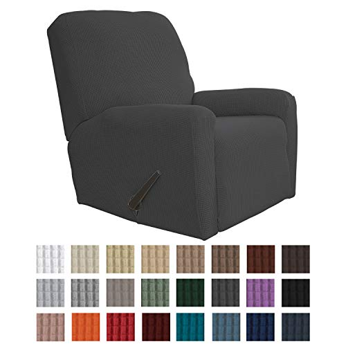 Best Easy-Going Recliner Stretch Sofa Slipcover Sofa Cover 4-Pieces Furniture Protector Couch Soft with Elastic Bottom Kids, Spandex Jacquard Fabric Small Checks(Recliner,Dark Gray)
