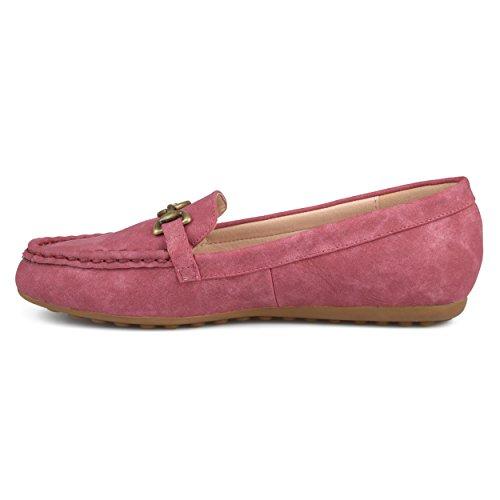 Journee Collection Mujeres Square Toe Comfort-sole Conducción De Cadena Mocasines Rojo