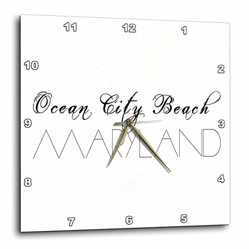3dRose Alexis Design - American Beaches - American Beaches - Ocean City Beach, Maryland on white - 13x13 Wall Clock - Ocean City Maryland Outlets