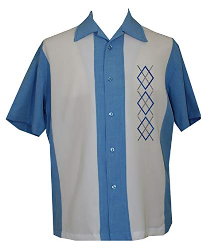 Lucky Paradise Mens Camp Shirt, Vintage Cuban Style Bowling Shirt Curacao ~ Guayabera Dress Shirt Style
