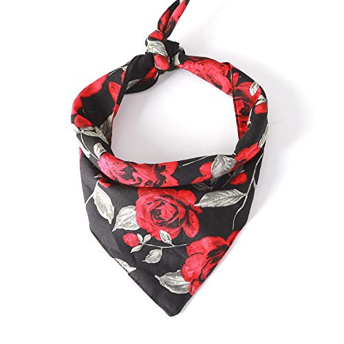BingYELH Dog Bandana Bibs Pet Rose Print Scarf Triangle Head Scarfs Accessories Neckerchief for Small and Medium Dog]()
