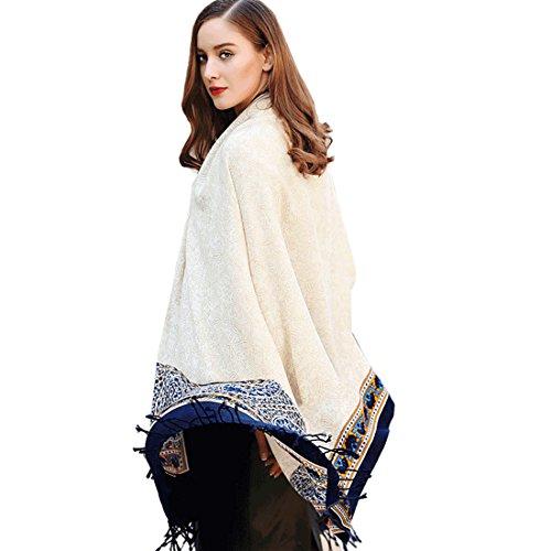 (DANA XU 100% Pure Wool Women Winter Large Scarf Pashmina (White))
