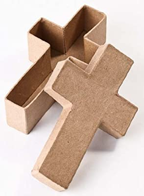 Factory Direct Craft 12 Piece Package of Paper Mache Cross Boxes for Vbs Kids Crafting and Group Projects