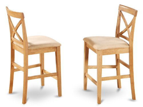 East West Furniture PBS-OAK-C X-Back Stool Set with Upholstered Seat, Oak Finish, Set of ()