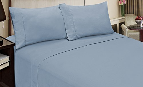 Home Dynamix Jill Morgan Fashion 3 Piece Solid Sheet Set, Twin, Light Blue