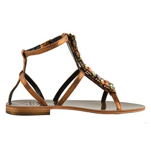 Emanuela Caruso Capri Femmes Pierre Décorée Plat Sandales Chaussures Multicolore