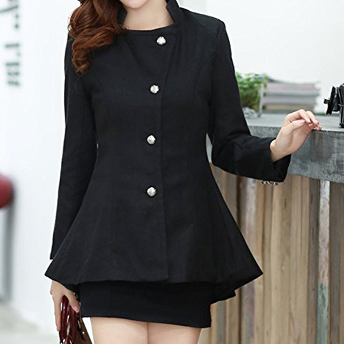 LookbookStore Damen Enganliegender Asymmetrischer Peplum Baumwoll-Blazer mit Revers