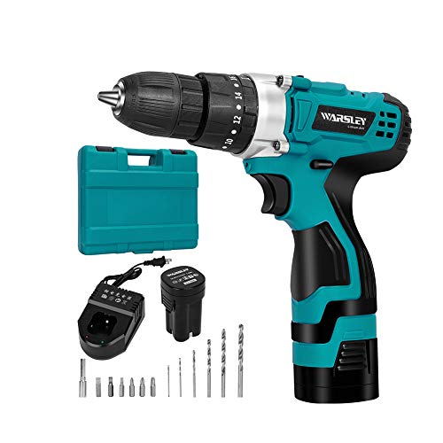 2 Hr Fast Charger - WARSLEY 16.8V 1.5Ah Lithium Ion Cordless Drill/Driver Set - Compact Drill Kit with LED, 3 Function, 2 Speed, 2 Batteries, 1 Hour Fast Charger, 18 Torque Setting, 13 pcs Drill/Driver Bits Included