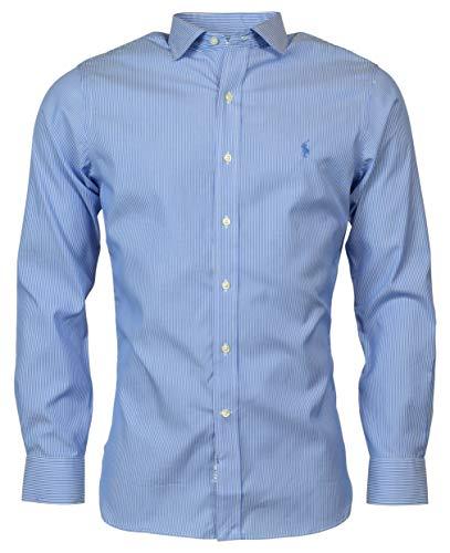 (Polo Ralph Lauren Men's Easy Care Slim Fit Fit Dress Shirt - Blue/White - 18 36/37)