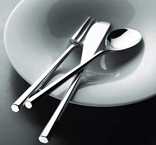 """Alessi""""MU"""" Mirror Polished Table Spoons in 18/10 Stainless Steel (Set of 6), Silver"""