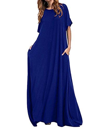 Kidsform Women Maxi Dress Loose Round Neck Short Sleeve Long Solid Plain Dress with Pocket Navy 2XL - Long Sleeve Caftan Dress