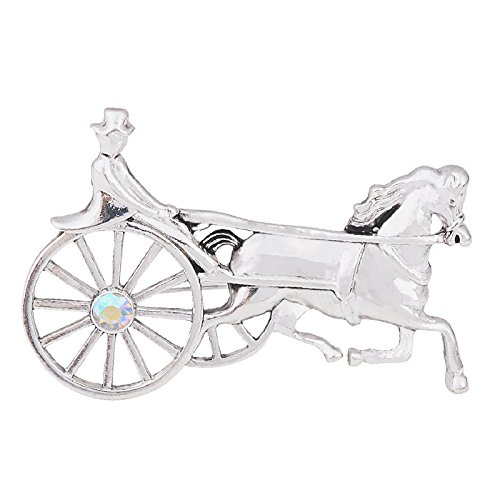 OBONNIE Vintage Gold Silver Tone Crystal Enamel Horse and Carriage Buggy Pin Brooch Lapel Pin (Silver) - Silver Tone Figural