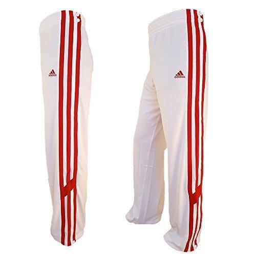 adidas ClimaLite TRKY Snap Pant Uomo Formazione Pantaloni Sport Pallacanestro pantaloni Firebird bianco / rosso