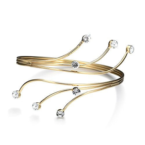 Lureme Women s Gold Swirl Upper with Crystal Thin Arm Cuff Armlet Armband Bangle Bracelet (bl003213)