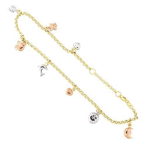 14k Tri Color Gold Good Luck Charms Rolo Chain Adjustable Anklet, 9