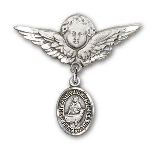 Icecarats Créatrice De Bijoux En Argent Sterling St. Catherine De Suède Charme Ange Broche De Badge 1 1/8 X 1 1/8