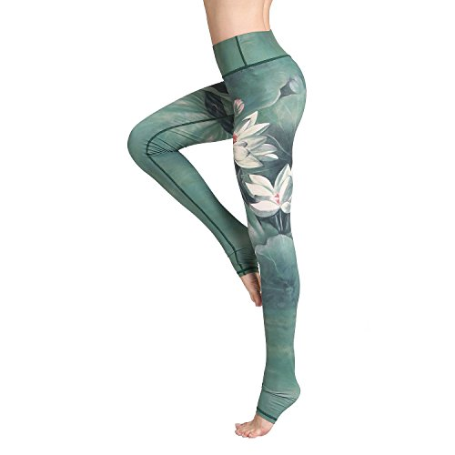 (Witkey Printed Long Women Yoga Leggings High Waist Tummy Control Over The Heel Yoga Pants Green)