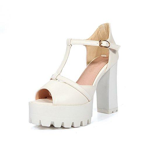 Allhqfashion Womens Pu Solid Tacchi Alti Fibbia Sandali Peep Toe Bianco