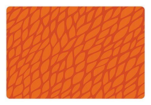 Ambesonne Burnt Orange Pet Mat for Food and Water, Abstract Foliage Leaves Pattern Sketch Nature Growth Composition, Rectangle Non-Slip Rubber Mat for Dogs and Cats, Orange Burnt ()