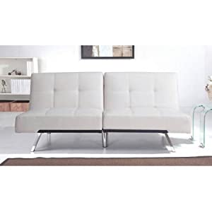 Austin Leather Futon Sofa Bed, Ivory, Set Includes: 1 Futon Sleeper Sofa, Materials: Wood And Metal Frame, Bundle With Ebook For Home Furniture