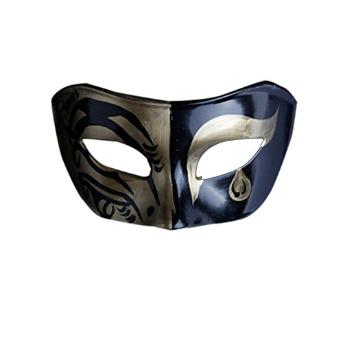 Mardi Gras Party Masquerade Mask,Men mask Halloween Dance Party Half face mask Retro Male mask A2 Prom Masks