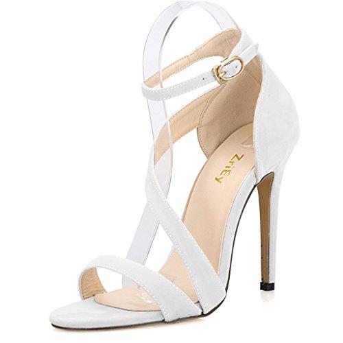 Women's Ladies Strappy Thin High Heel Sandals Ankle Strap Cuff Peep Toe Shoes Velvet White Size 5 UK FjzenN