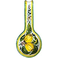 CERAMICHE D'ARTE PARRINI - Italian Ceramic Art Spoon Rest Pottery Holder Hand Painted Decorated Lemons Made in ITALY Tuscan