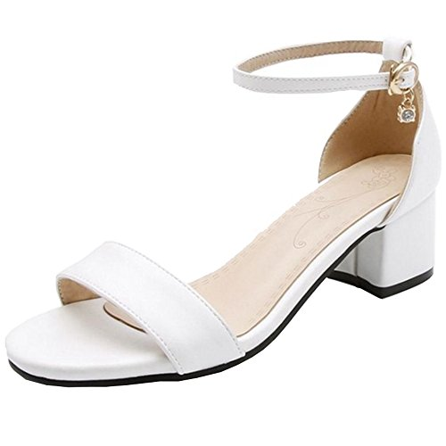 SJJH Sandals with Low Chunky Heel and Open Toe Simple Style Sandals with Large White-2